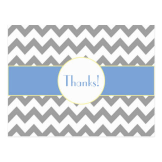 Gray and Blue Chevron Striped Monogram Thank You Postcard