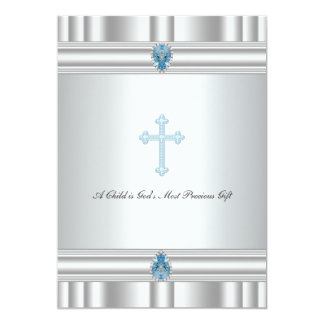 Gray and Blue Cross Boys Christening Announcements