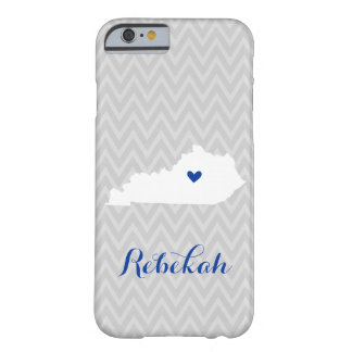 Gray and Blue Cute Kentucky Love Chevron Monogram Barely There iPhone 6 Case