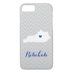 Gray And Blue Cute Kentucky Love Chevron Monogram Iphone 7 Case at Zazzle