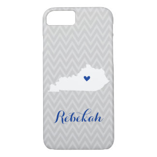 Gray and Blue Cute Kentucky Love Chevron Monogram iPhone 7 Case