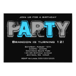 Gray and Blue Grunge Birthday Party Personalized Invitations