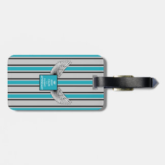 Gray and blue kciafa backward soon with stripes bag tag