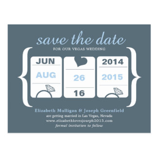 Gray and Blue Machine Wedding Save the Date Postcard