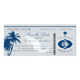 Gray and Blue Mexico Boarding Pass Save the Date Card