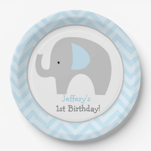 Gray and Blue Mod Elephant Chevron Birthday Plate