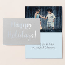 Gray And Blue Modern Christmas Family Photo Foil Card