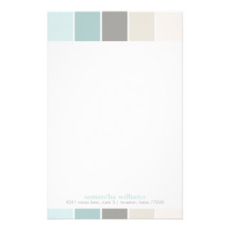 Gray and Blue Modern Decorative Color Blocks Stationery