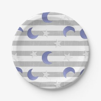 Gray and Blue Moon and Stars Baby Shower Paper Plate