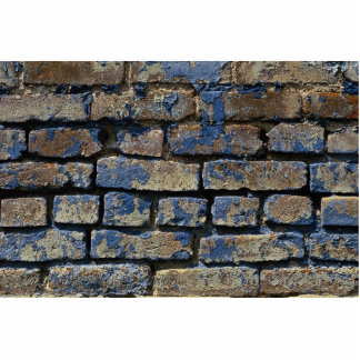 Gray and blue painted weathered brick texture cutout