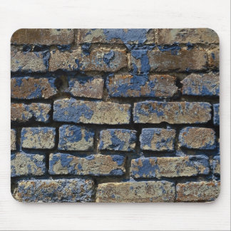 Gray and blue painted weathered brick texture mousepads