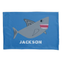 Gray and Blue Shark Kids Personalized Fish Pillowcase