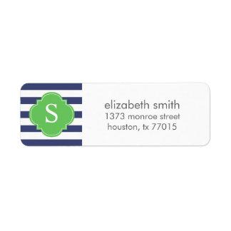 Gray and Blue Stripes Monogram Return Address Label