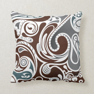 Gray and Brown Abstract Throw Pillows