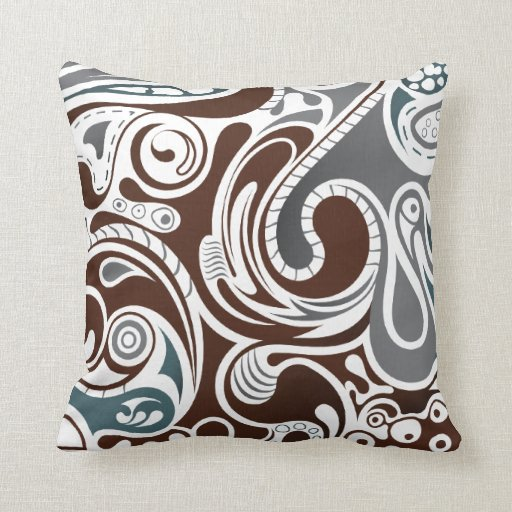 gray and brown abstract throw pillows zazzle. Black Bedroom Furniture Sets. Home Design Ideas