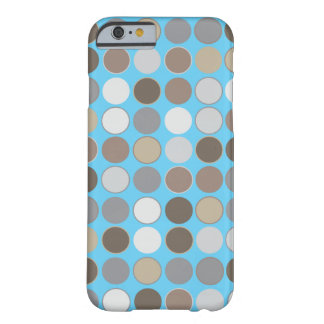 Gray and Brown Circles w/Blue Modern Pattern Barely There iPhone 6 Case