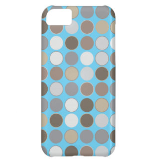 Gray and Brown Circles w/Blue Modern Pattern iPhone 5C Covers