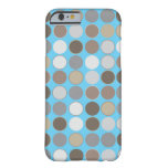 Gray and Brown Circles w/Blue Modern Pattern iPhone 6 Case