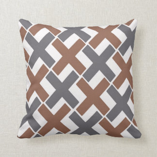 Gray and Brown Xs Throw Pillow