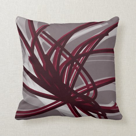 Gray and Burgundy Artistic Abstract Ribbons Throw Pillow