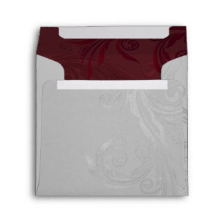 Gray and Burgundy Flourish Custom Wedding Envelope