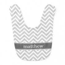 Gray and Charcoal Chevron Monogram Baby Bib