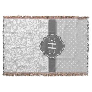 Gray and Charcoal Damask Polka Dots Monogram Throw Blanket