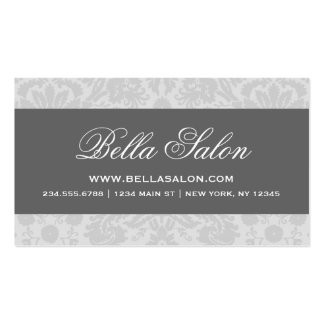 Gray and Charcoal Elegant Vintage Damask Double-Sided Standard Business Cards (Pack Of 100)