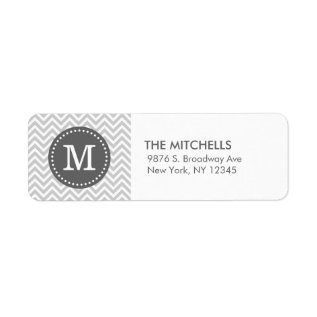 Gray And Charcoal Modern Chevron Custom Monogram Label at Zazzle