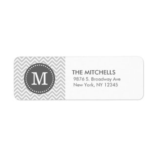 Gray and Charcoal Modern Chevron Custom Monogram Label