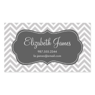 Gray and Charcoal Modern Chevron Stripes Business Cards