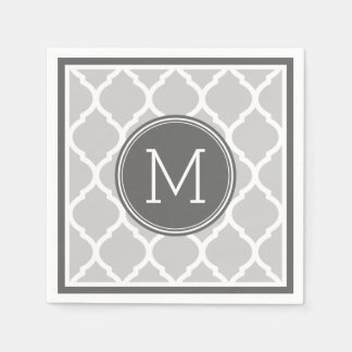 Gray and Charcoal Quatrefoil Wedding Monogram Paper Napkin