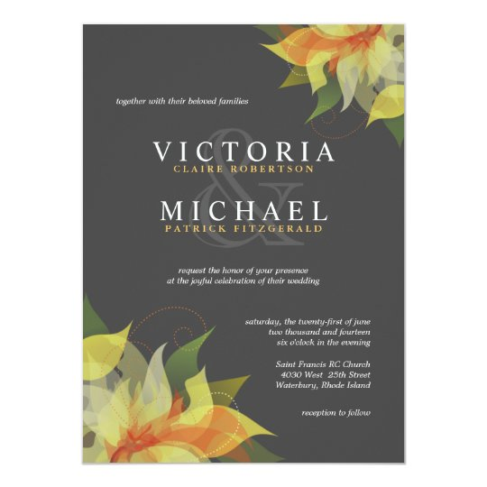 Gray and Citrus Yellow Floral Wedding Invitations