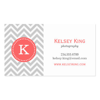 Gray and Coral Chevron Custom Monogram Business Card Templates