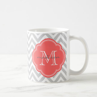 Gray and Coral Chevron Custom Monogram Coffee Mugs