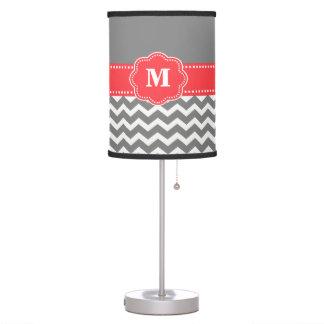 Gray and Coral Chevron Monogram Lamp Shade