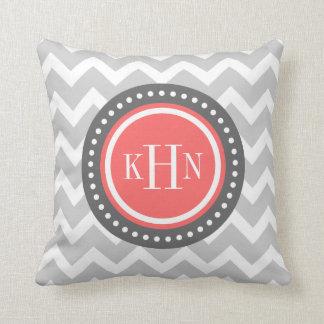Gray and Coral Chevron Monogram Throw Pillow