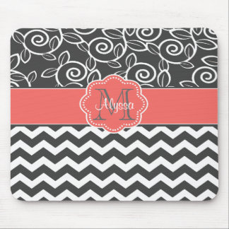 Gray and Coral Chevron Personalized Mousepad
