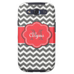 Gray and Coral Chevron Personalized Phone Case Samsung Galaxy SIII Covers