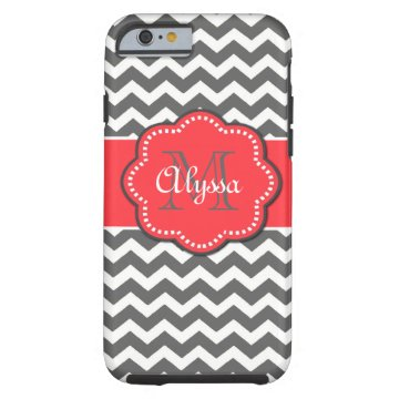 Gray and Coral Chevron Phone Case Tough iPhone 6 Case at Zazzle