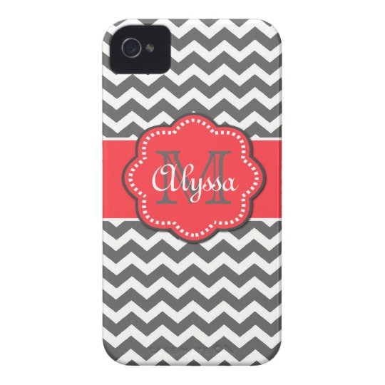 Gray and Coral Chevron Phone Case