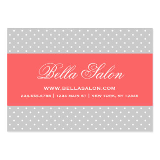 Gray and Coral Cute Modern Polka Dots Business Card Templates