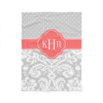 Gray and Coral Damask Polka Dots Monogram Fleece Blanket