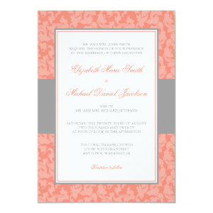 Gray and Coral Damask Swirl Wedding Invitation 5