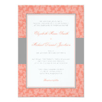 Gray and Coral Damask Swirl Wedding Invitation