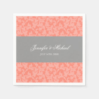 Gray and Coral Damask Swirl Wedding Personalized Paper Napkin