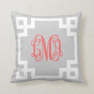 Gray and Coral Greek Key Script Monogram Throw Pillows