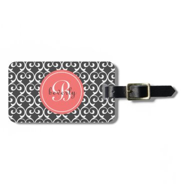 heartlocked Gray and Coral Heartlocked Print Luggage Tag
