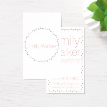 Professional Business Gray and Coral Laurel Vine Business Card