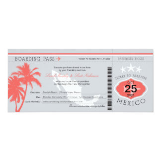 Gray and Coral Mexico Boarding Pass Wedding Card